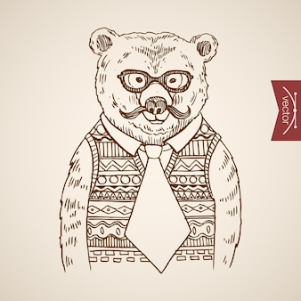 Bear businessmen portrait hipster style human clothes accessory wearing pullover glasses tie.