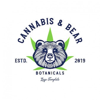 Bear and cannabis leaf logo template