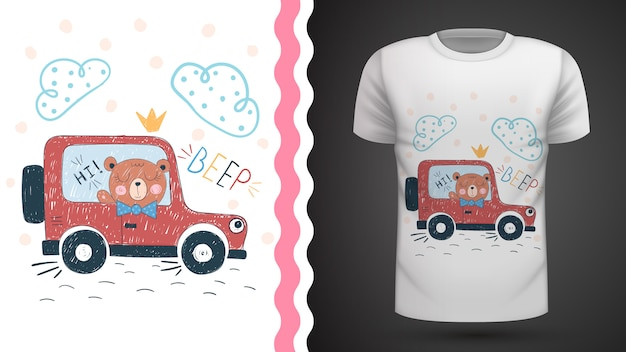 Bear and car idea for print t-shirt