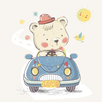 Bear in carhand drawn vector illustrationcan be used for kids or babys shirt design fashion