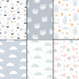 Bear cartoon cute seamless pattern set blue tone for children scrapbook and more