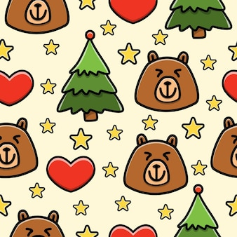 Bear cartoon doodle seamless pattern Premium Vector