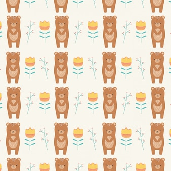 Bear cartoon and flowers seamless pattern wallpaper