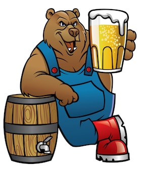 Bear cartoon lean on the barrel and presenting the beer