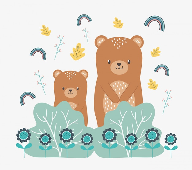Bear cartoon and leaves design vector illustration