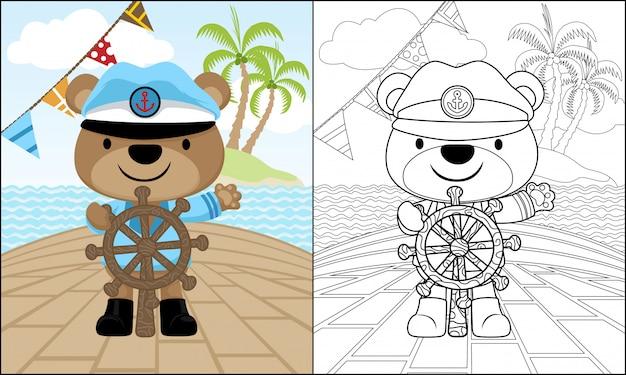 Bear cartoon on steering wheel on a ship in the sea