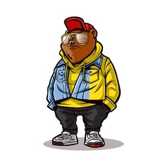 래퍼 스타일의 곰 만화