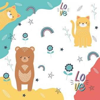 Bear and cat cartoon design vector illustration