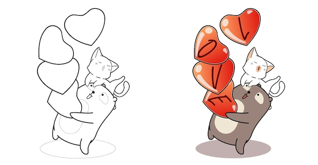 Bear and cat in valentine day cartoon coloring page for kids