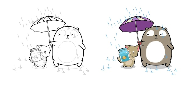 Bear and cat with little fish in raining cartoon coloring page for kids