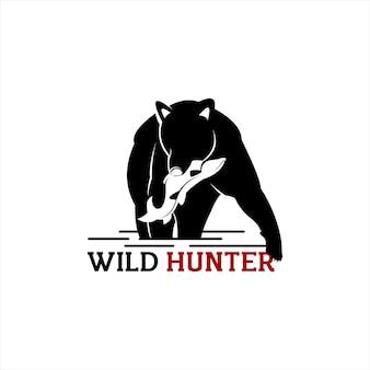 Bear catches a salmon silhouette vector animal
