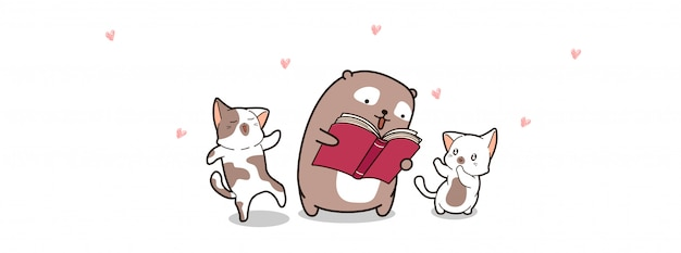 Bear and cats are reading book in world book day