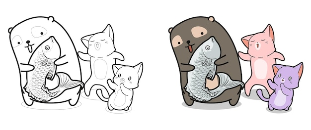 Bear and cats with fish coloring page for kids