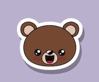 Bear character kawaii isolated icon design