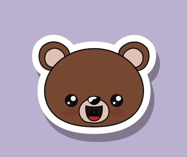 Медведь характер kawaii изолированный дизайн иконок