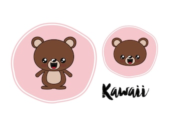 Bear character kawaii isolated