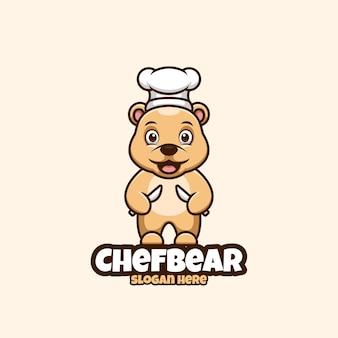 곰 요리사 만화 로고 크리 에이 티브 일러스트 레이션