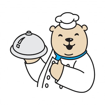 Bear chef cartoon