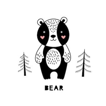 Bear for children in scandinavian style.