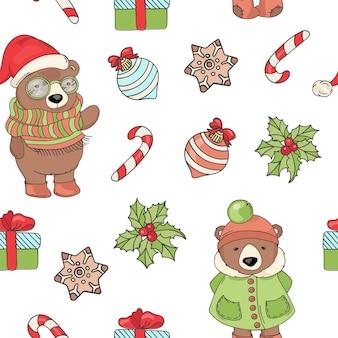 Медведь рождественский бесшовный узор