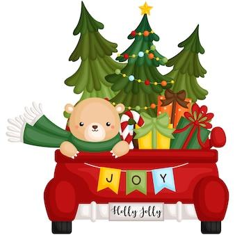 Bear in christmas truck