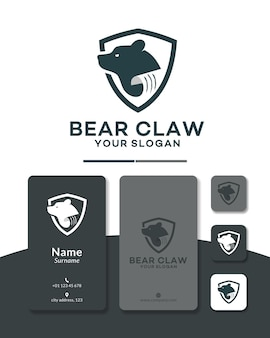 Bear claw shield logo design