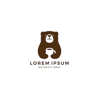 Bear coffee mug negative space logo