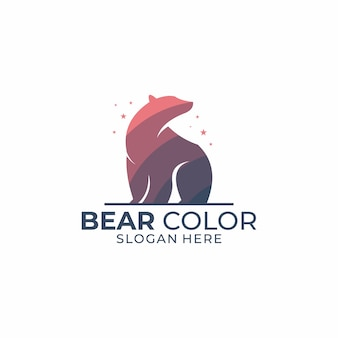 Bear color logo template
