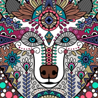 Bear colorful floral ornamental head design