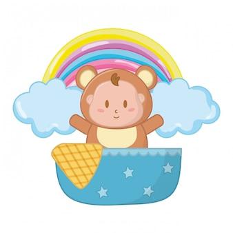 Bear costume in a cradle illustration
