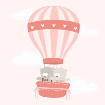 Bear couple in a balloon with heart pattern light color