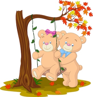 Bear couple in love sitting on a swing under a tree