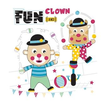 Bear and cow on the circus funny animal cartoon
