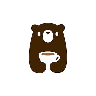 곰 새끼 컵 커피 차 음료 로고 아이콘 그림