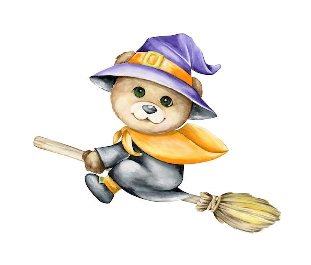 ほうきの上を飛んでいる帽子とレインコートを着たクマの子。漫画のスタイルで、孤立した背景に水彩のクリップアート。