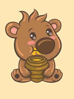Bear cub with honey pot