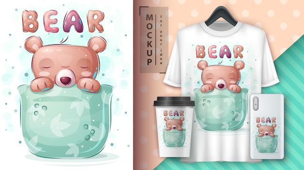 Bear in cup - poster and merchandising