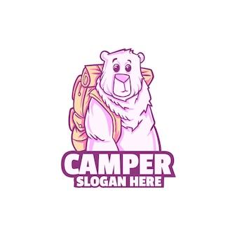 白で隔離されるクマかわいいキャンピングカー ロゴ