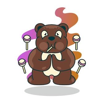 사탕 만화 캐릭터 일러스트와 함께 귀여운 곰