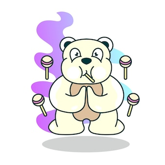 Bear cute with candy cartoon character illustration