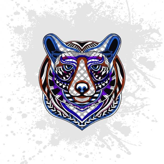Bear decorated with abstract shapes
