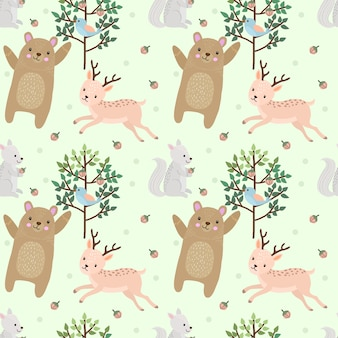 Bear and deer in forest seamless pattern.