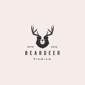 Медведь олень логотип хипстер ретро винтаж для брендинга или товаров и футболки дизайн