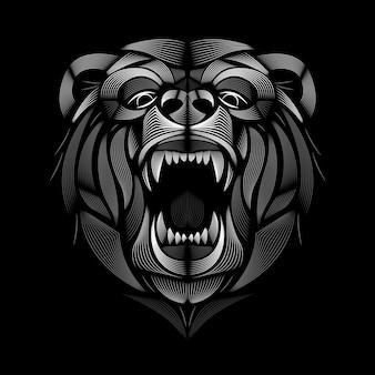 クマのデザイン。リノカットスタイル。黒と白。線図。