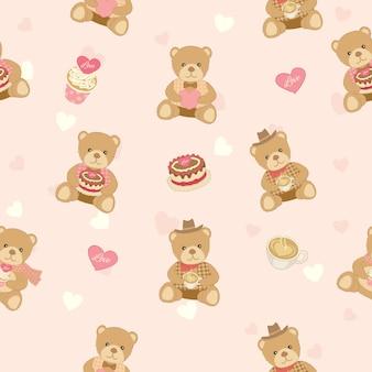 Медвежонок с тортом дизайн для бесшовного рисунка
