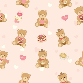 Bear doll with cakes design for seamless pattern