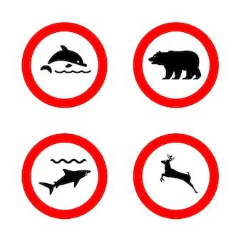 Bear, dolphin, shark, deer prohibited signs