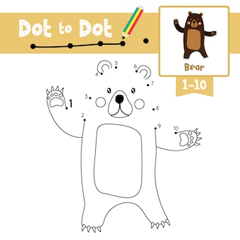 Bear dot to dot game and coloring book