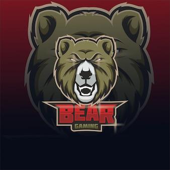 クマのeスポーツチームマスコットロゴ