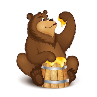 The bear eats honey